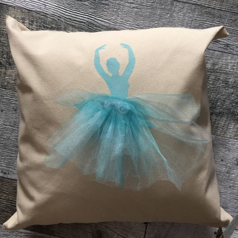 Ballerina with Turquoise Skirt Pillow Cover image 0