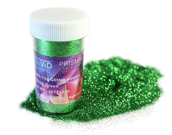 Raw Pigment Paint Additives Particles (2 Units) | Green Metallic Glitter  Pigment Powder 2 x 15g Jar | Non-Toxic Cosmetic Grade | Prisma65