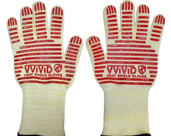 Extreme Heat Resistant Gloves | Rubberized Silicone-Grip Barbecue Heat Gloves | Aramid Fabric Resists Up to 900 Farenheit | VViViD