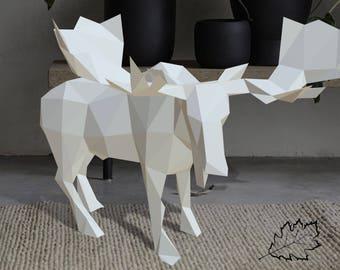 Pdf Papercraft Moose. Low poly sculpture. DIY paper 3D  sculpture, 3D papercraft origami, gift, decoration, Homemade, Animal sculptures