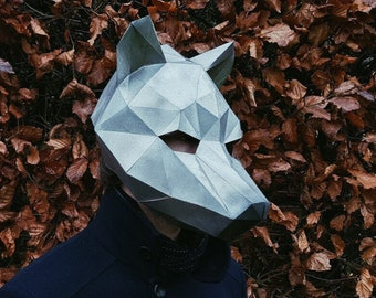 Pre Cut WOLF MASK - Low Poly Animal 3D DIY papercraft template for adults. Mask masquerade