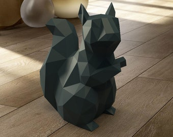 Squirrel PDF Papercraft paper sculpture template, origami kit, Paper Animal Head, Make Your Own Trophy! low poly Printable model template