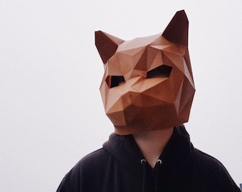Pre Cut CAT (Kitten) MASK, Animal DIY Masquerade papercraft, low poly 3D paper, mask template for adults, woman and man