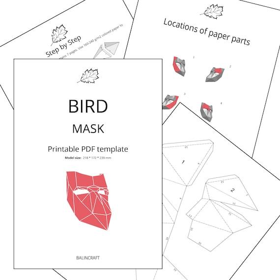 BIRD MASK Papercraft 3d Template Hand Low Poly