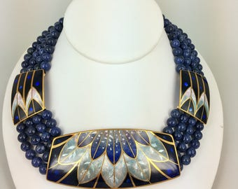 David Kuo hand made Champleve Enamel necklace jewelry