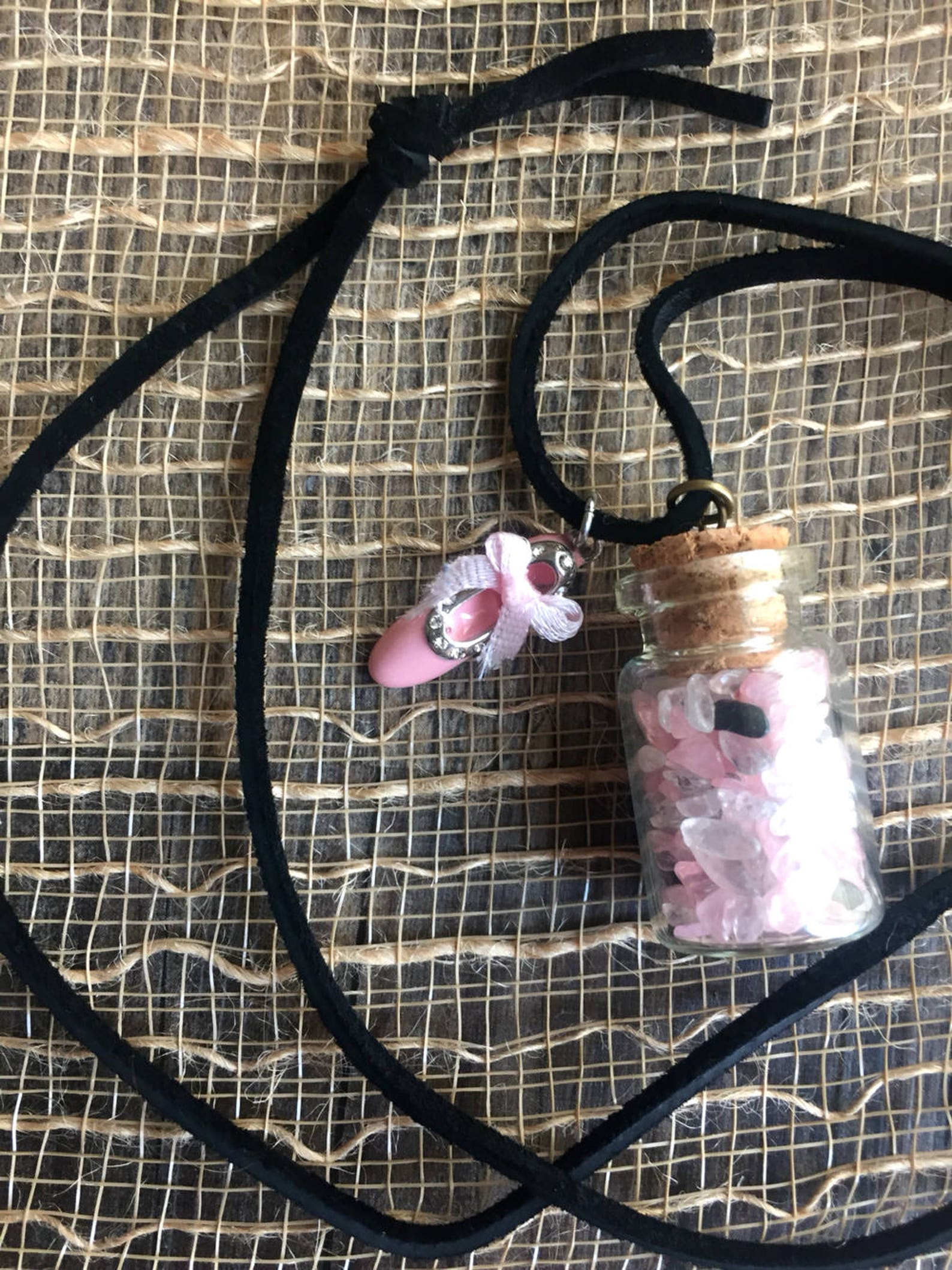 miniature tumbled stone filled jar necklace with ballet shoe charm!
