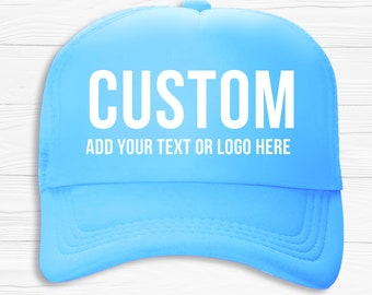 bcb6d926 Custom Personalized Hat, Custom Trucker Hat, Baby Blue Hat, Personalized Hat,  Custom Text Hats, Unisex Hat, Gift For Her, Gifts for Him