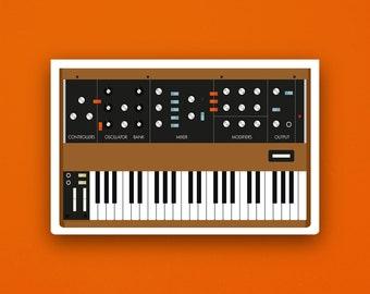 Moog Minimoog Vinyl Sticker: Synth Sticker, Retro Synth Sticker, Music Sticker, Music Studio, Studio, Moog, Synthesizer, Birthday Gift
