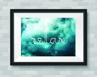 Relax, Crashing Waves, Peaceful  Wall Art Decor, Large Printable Digital Download