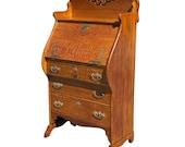 Antique Victorian Quartersawn Oak Drop Front Secretary Writing Desk by Larkin