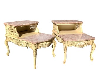 Vintage French Rococo Louis Xvi Marble Ormolu Side Table Etsy