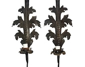 Large Antique French Architectural Cast Iron Wall Sconces - A Pair