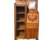 Antique Victorian Larkin Oak Side by Side Bookcase Secretary Desk