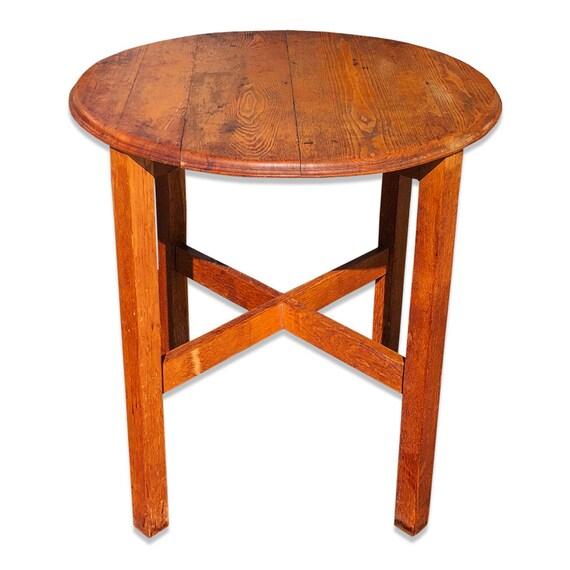 Stupendous Antique Arts Crafts Mission Oak Round Farmhouse Table Stickley Roycroft Era Bralicious Painted Fabric Chair Ideas Braliciousco