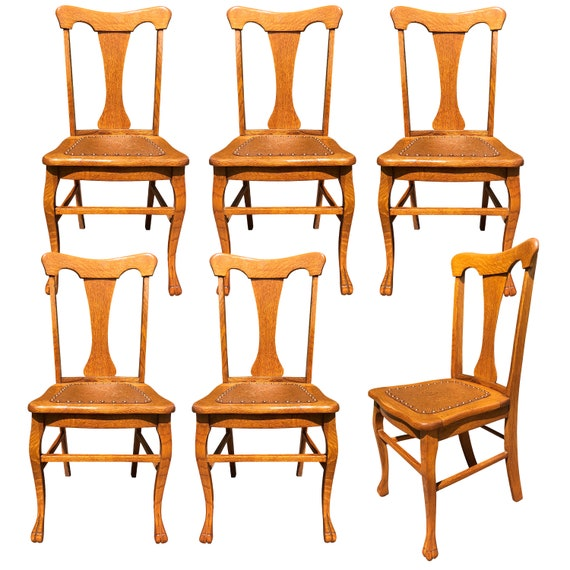 Amazing Antique French Country Quartersawn Oak T Back Dining Chairs With Leather Bottom Cjindustries Chair Design For Home Cjindustriesco