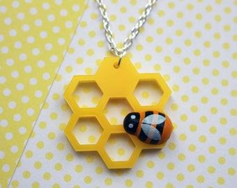 Laser cut geometric honeycomb necklace - acrylic jewelry - acrylic jewellery