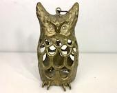 Vintage Large Cast Iron Owl Lantern mid century Bird Animal Metal Hong Kong Heavy Brass