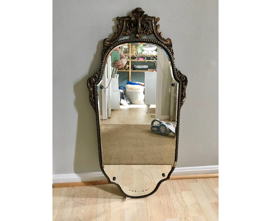 Nurre Maestro Antique 1929 Beveled Wall Mirror Etched
