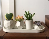Concrete succulent planter set of 4, Geometric handmade plant Pots with saucer for indoor plants