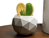 Geodesic sphere concrete succulent planter in gray, Handmade succulent and cactus pot