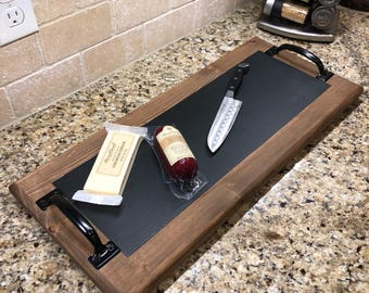 Handcrafted serving tray with chalkboard center.
