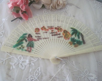 Victorian Celluloid Hand Fan and Rose BroochPin 19th Century