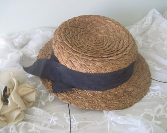 2d5f24e196a36 Antique Child s Mannequin Doll Straw Boater Hat c1900 Nordic Style