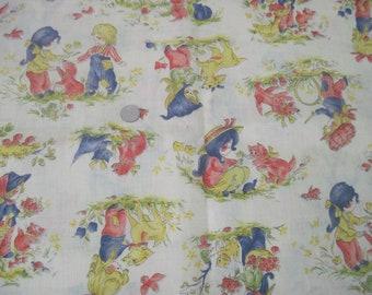 Seventies vintage childrens fabric 150x90 cm.