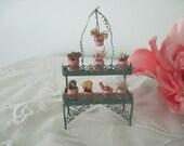 Vintage Dollhouse Plant Stand Miniature Fine Metal Fillagree