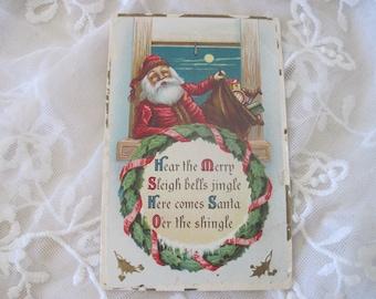 Antique Christmas Postcard with Santa Claus c1910