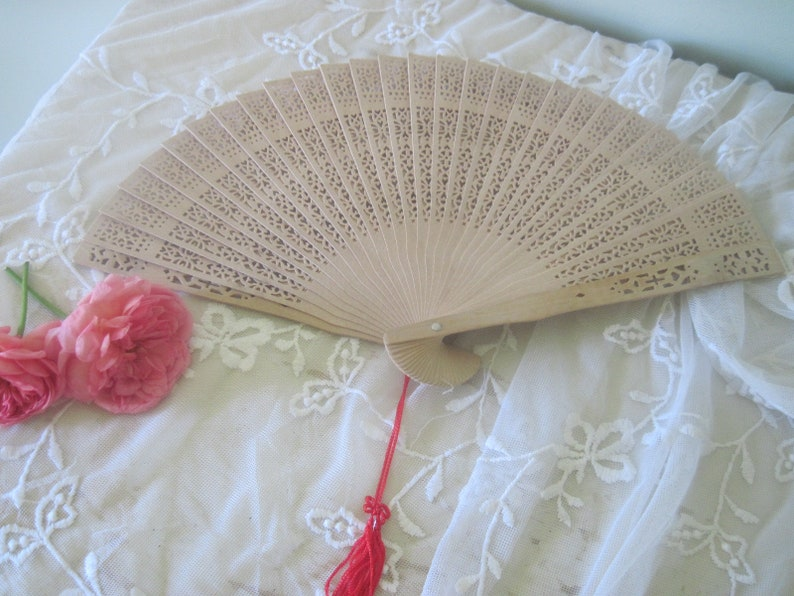 Vintage Hand Held Chinese Sandalwood Fan with Cut Out   Etsy