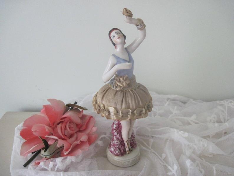 Antique Porcelain Pincushion Dolls Set of Two 1920 c