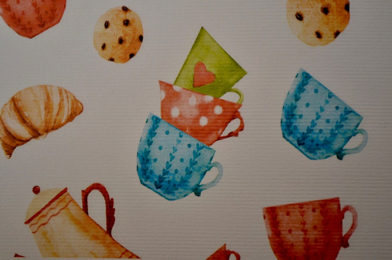 Scrapbooking paper for kitchen projects Paper for crafts with design of  tea cups and cookies