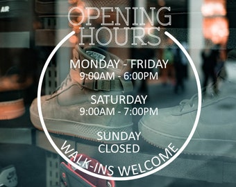 Business Opening Hours Decal  - Open to Close - Hours of Operation - Commercial Grade Premium Vinyl - OHS0100_2