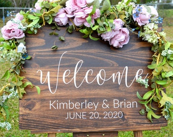 NEW! A D.A. Designs - Rustic Solid Wood Wedding, Quinceanera, Baby Shower, Anniversary Welcome Sign  - Wedding Colors - NSW0102_2
