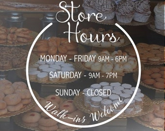 Business Opening Hours Decal  - Open to Close - Hours of Operation - Commercial Grade Premium Vinyl - OHS0100_8