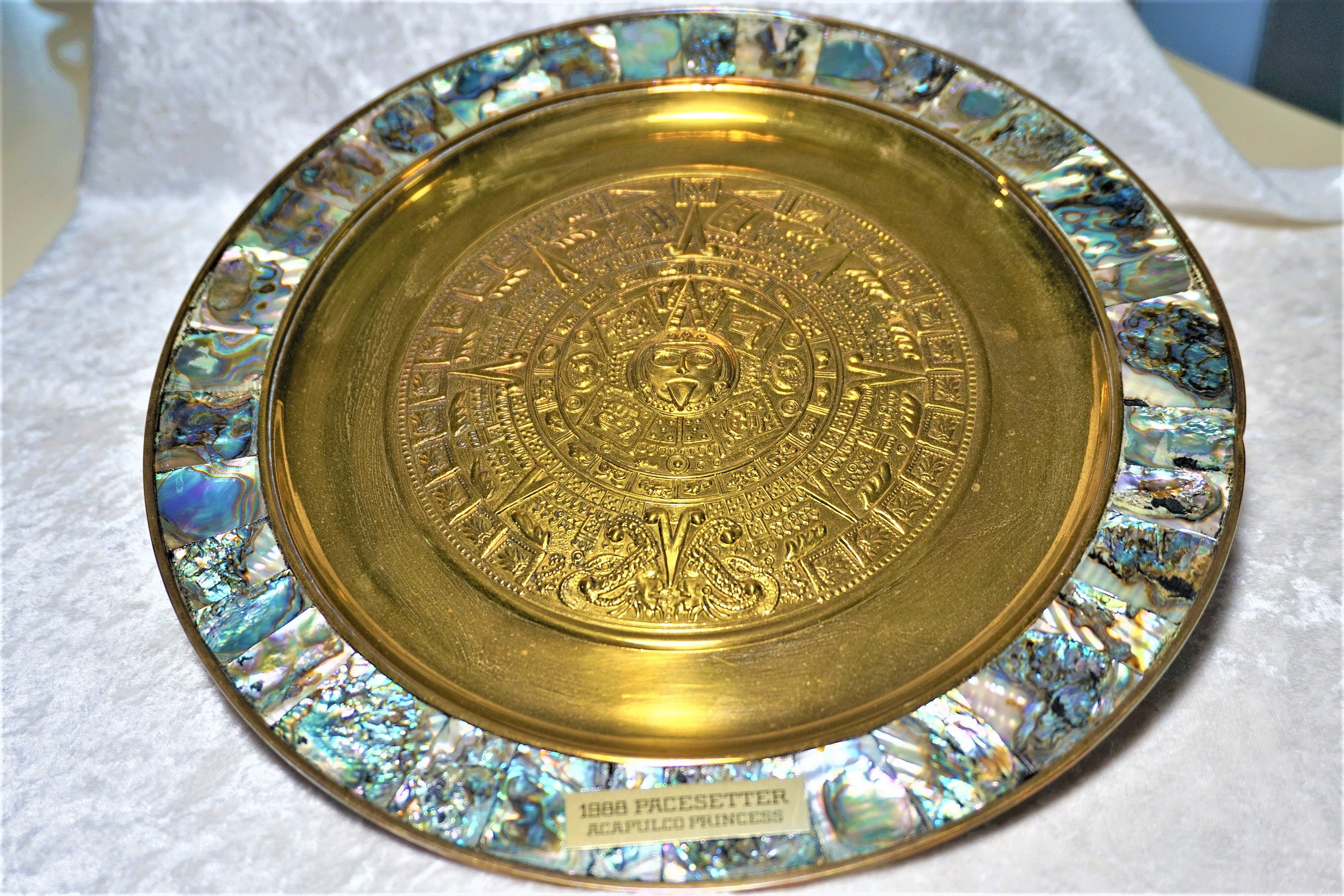 Vintage Abalone & Alpaca Silver Wall Hanging Plate Rare Find   Etsy