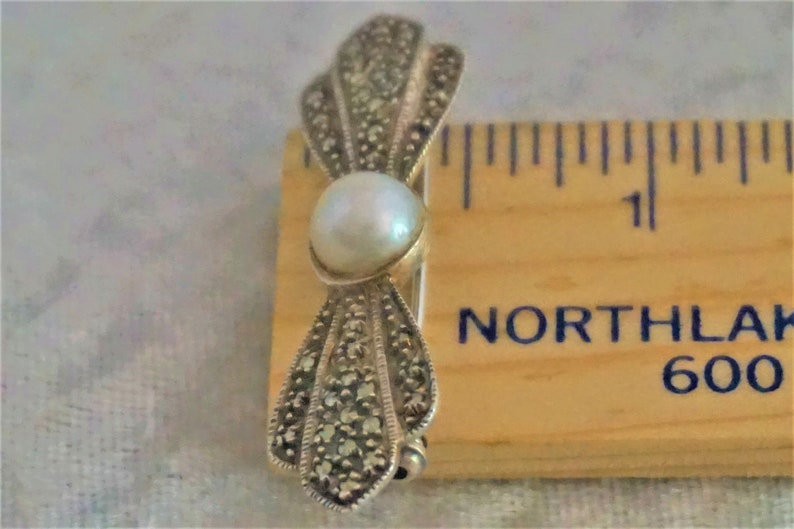 Antique Brooch Victorian Sterling Silver Pearl /& Illusion Stones Rare Find Collectible Pin Fine Jewelry Gift For Her Same Day Free Shipping