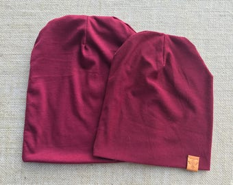 Burgundy Maroon Knit Slouch Hat - Beanie - Baby Slouch Hat  - Kids Slouch Hat - Daddy And Me
