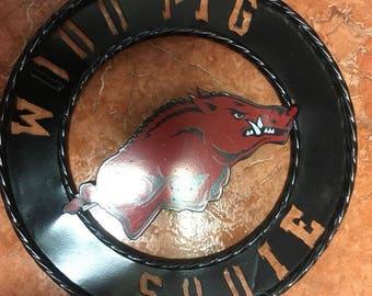 Wooo Pig Sooie Sign / Arkansas Collegiate Sign Metal / Razorbacks