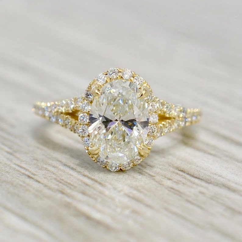 c1c61186275b4 Oval Brilliant in a Petite Oval Split Shank French Pavé Engagement Ring in  Yellow