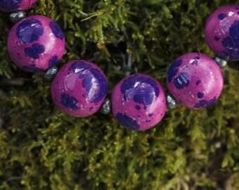 Blue Purple Spotted Lapis Ceramic Necklace