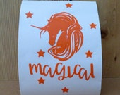 Unicorn  with stars and magical text vinyl decal/ Wall decal for walls, doors/ DIY removable vinyl decal/ Vinyl sticker