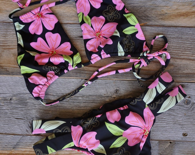 Hanna Halter Top & Tiff Cheeky Multi Side Strap Bikini Bottoms ~ Hawaiian Pink Flower Print