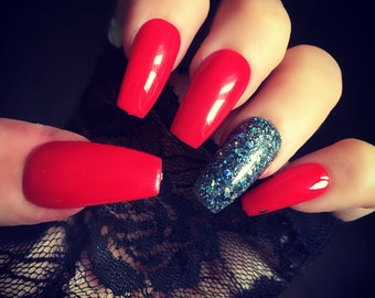 Hand Painted False Nails Bright Red Diamond Coffin Full Cover Tips - Set Of 24 Glue On Nails Press On Nails