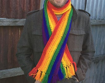 Rainbow Striped Gay Pride Scarf