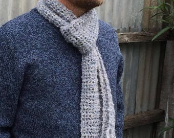 Cloud Scarf - light, versatile, and textured crocheted scarf in blue shades