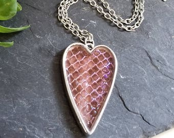 Real Snake Shed Skin Necklace - Boa Constrictor - Oddities Preserved Jewelry - Reptile Purple Scales - Heart Shaped