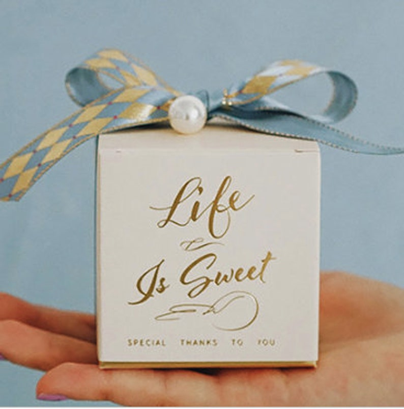 10pcs Checked Ribbon Bronzing Wedding Favor Boxes Wedding Gift Boxes Chocolate Box Optional Personalized Tag,FREE Name Place Card B283