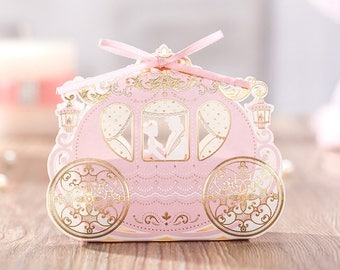 Bronzing Wedding favor box with ribbon and double bow - Fairy Tale - Pink Pumpkin Carriage - Happy Ever After(set of 20)